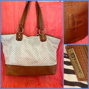 Linea Pelle slouchy tote laser cut leather